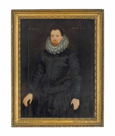 English School, 1600  Portrait of a gentleman, traditionally identified as Robert Devereux, 2nd Earl of Essex (1565-1601), three-quarter-length, in a black doublet and ruff inscribed 'ÆTATIS SVÆ 32.' (upper left) and dated 'ANO DNI. 1600.' (upper right) oil on panel  44½ x 33½ in. (113 x 85.1 cm.)
