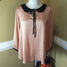 """Top ⭐️Peach/Pink with Black Polka Dots Light Weight LOFT top in Good Condition⭐️100% Polyester⭐️Machine Washable⭐️Approximate measurements lying flat are: Length 24"""", Bust & Waist 16"""" & Sleeves 21""""⭐️No Trades LOFT Tops Blouses"""