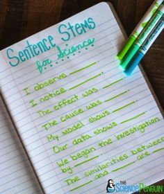 Great sentence stems for teaching science to ELL's or struggling students