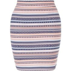 New Look Teens White Stripe Aztec Print Tube Skirt (295 UAH) ❤ liked on Polyvore featuring skirts, white pattern, striped maxi skirt, elastic waist skirt, maxi tube skirt, long striped skirt and white mini skirt