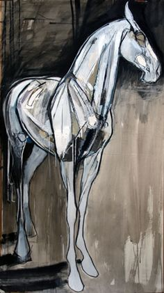 """Fearless Horse  59"""" x 33"""", Mixed media on paper"""