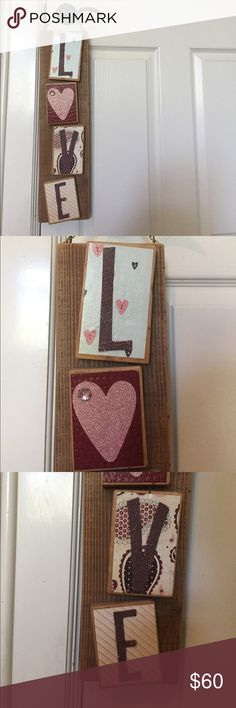 "one of a kind ""LOVE"" sign this sign is an original. it was handmade for me, but it needs a new home! it is perfect room decor & is adorable! it is made mostly out of wood & is super sturdy!! one slight imperfection on the third picture where there is a white spot on the ""E."" Other"