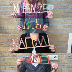 Maak je naam van ijslollystokjes en zorg dat alle letters even groot zijn. Inkleuren met stiften.