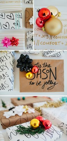 I wish I could decorate my Christmas presents this beautifully. [DIY Inspirational Wrapping Paper]