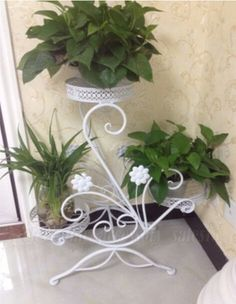 3 TIER Wrought Iron Floor-Standing Pot Plant Stand Balcony Study Planter White