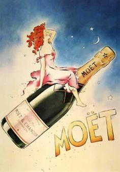 Vintage Moët Champagne illustration.