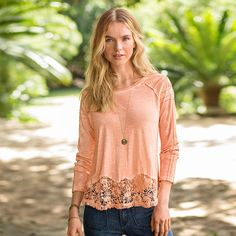 "PRACTICAL ROMANCE TOP -- So romantic, yet so everyday-wearable, in soft, garment-dyed cotton, with embroidery detail at shoulders and sleeves, lace at front hem. Due to the unique dying process colors will vary. Machine wash. Imported. Exclusive. Sizes XS (2), S (4 to 6), M (8 to 10), L (12 to 14), XL (16). Approx. 27""L."