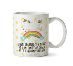 """Tasse Einhorn Regenbogen aus Keramik  Weiß - Das Original von Mr. & Mrs. Panda.  Eine wunderschöne Keramiktasse aus dem Hause Mr. & Mrs. Panda, liebevoll verziert mit handentworfenen Sprüchen, Motiven und Zeichnungen. Unsere Tassen sind immer ein besonders liebevolles und einzigartiges Geschenk. Jede Tasse wird von Mrs. Panda entworfen und in liebevoller Arbeit in unserer Manufaktur in Norddeutschland gefertigt.    Über unser Motiv Einhorn Regenbogen  Ganz nach dem Motto """"Einen Regenbogen…"""