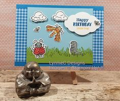 Learn how to use Stampin' Up! products to create this cute kids card featuring the Wiggle Worm bundle from Stampin' Up! Full details for this project on my b. Bridge Card, The Wiggles, Cardmaking And Papercraft, Wink Of Stella, Kids Birthday Cards, Some Cards, Ink Pads, Kids Cards, Worms