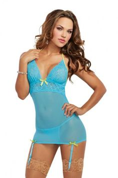 Clothing, Shoes & Accessories Intimates & Sleep Objective New Shirley Of Hollywood Sexy Turquoise Xlarge Stretch & Lace Chemise