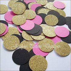 Party Confetti Gold Glitter Hot Pink And by JaclynPetersDesigns