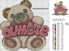 TEDDY THUN AMORE SCHEMA PUNTO CROCE Minnie Baby, Baby Disney, Cross Stitch Baby, Cross Stitch Embroidery, Cross Stitch Designs, Cross Stitch Patterns, Canvas Designs, Panda Bear, Teddy Bear