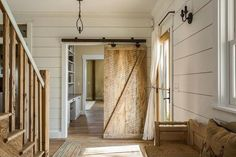 A Modern Rustic Farmhouse in Indiana (love that sliding barn door and the shiplap walls!)%categories%Home Farmhouse Interior, Interior Barn Doors, Farmhouse Design, Rustic Farmhouse, Farmhouse Style, Fresh Farmhouse, Rustic Barn, Quinta Interior, Ship Lap Walls