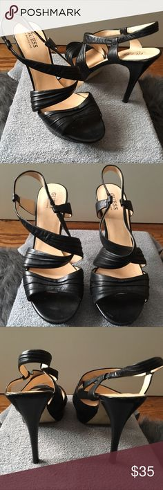 "Guess by Marciano Leather Platform Heel Sandal Only worn a few times - in good condition! No box. Guess by Marciano Black Leather Platform Heel Sandal (size 9.5). Heel measures approximately 5"" with 1"" platform. Guess by Marciano Shoes Heels"