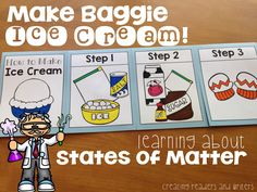 Science Matters: Learning About the States of Matter with Primary Children. Make ice cream in a bag, see all 3 states in a root beer float, and make some cupcake magic. Lots of ideas! 1st Grade Science, Kindergarten Science, Elementary Science, Science Classroom, Teaching Science, Teaching Ideas, Classroom Ideas, Science Experiments Kids, Science Lessons