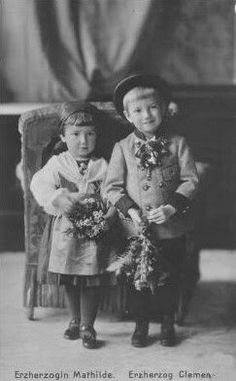 Archduchess Mathilde of Austria (1906 -1991) and Archduke Clemens Salvator of Austria (1904 - 1974). They were the two youngest children of Archduke Franz Salvator, of Austria, Prince of Tuscany  (1866 – 1939) and his wife Archduchess Marie Valerie of Austria (1868 – 1924)