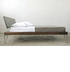 """<p>Solid American walnut with an oil finish. Die cast aluminum legs and support. Available in bed frames, nightstands, coffee table, and benches. Bed frames with poplar wood slats. Mattress sits 13"""" from floor. Great area design.</p><p>FULL:<br />W 59"""" x L 82.4"""" x H 34.1"""" (150 lbs.)</p><p>QUEEN:<br />W 63.9""""x L 88.6"""" x H 34.1"""" (166 bs.)</p><p>KING:<br />W 81""""x L 88.6""""x H 34.1"""" (216 lbs.)</p>"""