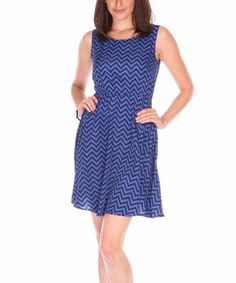 Love this Blue & Navy Zigzag Sleeveless Dress by Fuchhi Style on #zulily! #zulilyfinds