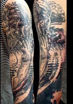 Squid Ship Tattoo More Ship Tattoo Sleeves, Sleeve Tattoos, Tatting, Body Art, Ink, Ship Tattoos, Traditional Tattoos, Beautiful Body, Appreciation