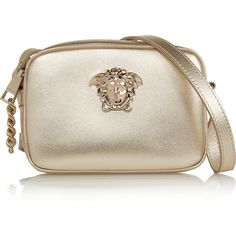 Versace Palazzo metallic leather camera bag (1.525 BRL) ❤ liked on Polyvore featuring bags, handbags, shoulder bags, torbe, gold, brown shoulder bag, evening handbags, brown leather purse, versace handbags and leather purses