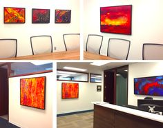 Office lobby, artwork by Marina Malvada, Soraya Silvestri, Janine Dupot and Christopher Gruver (clockwise from top left). Ottawa artist, Canadian artist, abstract painter.