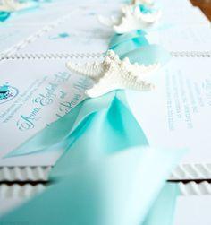 Beautiful beach wedding invitations with starfish | Mospens Studio