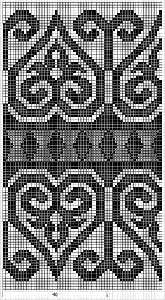 Some lovely charted patterns - Mustrilaegas: AA Kirjatud kudumid / Patterned knits Tapestry Crochet Patterns, Bead Loom Patterns, Weaving Patterns, Cross Stitch Patterns, Knitting Charts, Knitting Stitches, Knitting Patterns, Cross Stitch Embroidery, Embroidery Patterns