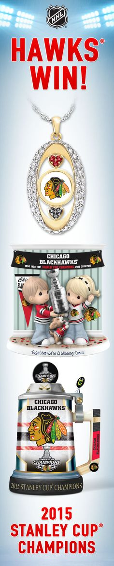Blackhawks win! Honor your 2015 Stanley Cup Champions with our officially-licensed Blackhawks collectibles and jewelry. Ready to keep the celebration going?