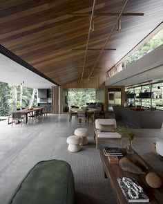 Open up air kitchen area and eating house with a lot of all-natural light-weight in the coastal forest of Guarujá, São Paulo State, Brazil ~ interesting Modern House Design, Flat Design, Loft House Design, Modern Houses, Home Interior Design, Interior Architecture, Chinese Architecture, Futuristic Architecture, Contemporary Architecture