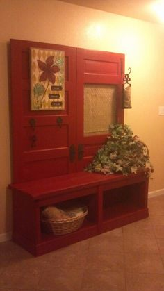 2 old doors, chicken wire and some burlap!  Oh yes!  Hall tree !!!