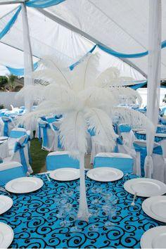 Malibu Blue Black And White Wedding