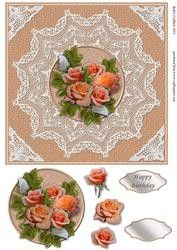 Apricot Roses On Lace Doily Quick Card