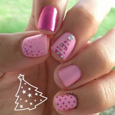 Christmas by adelislebron christmas nails маникюр. Love Nails, Pink Nails, How To Do Nails, Pretty Nails, My Nails, Christmas Nail Art, Holiday Nails, Pink Christmas, Garra