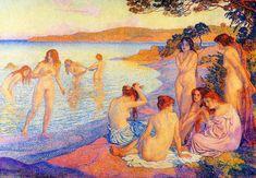 """""""La durée de combustion"""", huile sur toile de Theo Van Rysselberghe (1862-1926, Belgium)"""
