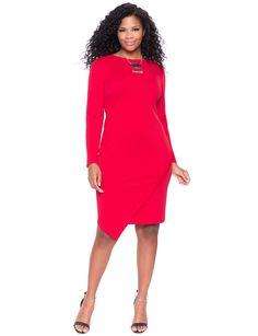 Asymmetrical Hem Textured Dress   Women's Plus Size Dresses   ELOQUII