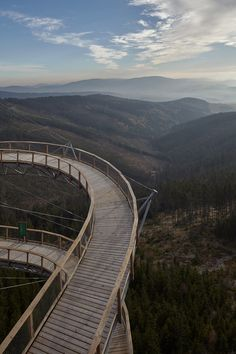 Sky Walk by Franek Architects is perched on a mountain in the Czech Republic