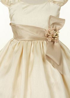 champagne with coral flower girl dresses | Home » Champagne Shantung Flower Girl Dress