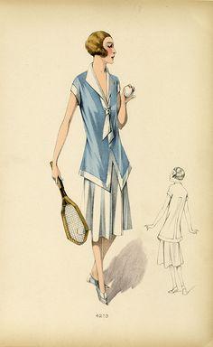 """kittyinva: """" Kittyinva: 1926 tennis ensemble from an unidentified French designer. From April Calahan's Material Mode. Tennis Fashion, 20s Fashion, Fashion History, Vintage Fashion, Vintage Tennis, Vintage Swim, Moda Vintage, Tennis Dress, Tennis Clothes"""
