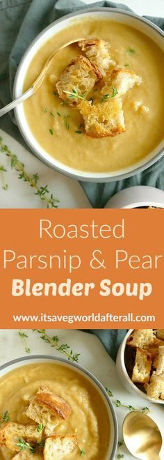 Roasted Parsnip and Pear Blender Soup - a creamy vegan soup that's loaded with flavor from sweet parsnips and pears! vegetable recipe Roasted Parsnip and Pear Blender Soup Blender Soup, Blender Recipes, Vegan Recipes, Cooking Recipes, Smoothie Recipes, Smoothie Cleanse, Cleanse Detox, Juice Cleanse, Ninja Recipes