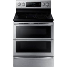 Samsung 30 in. 5.9 cu. ft. Flex Duo Double Oven Electric Range with Self-Cleaning Convection Dual Door Oven in Stainless Steel-NE59J7850WS - The Home Depot