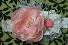 Peach Pink and Ivory Headband Over the Top Hair by AldonasBoutique,