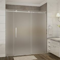 Aston Moselle x Single Sliding Frameless Shower Door Trim Finish: Stainless Steel, Drain Location: Left Frameless Sliding Shower Doors, Sliding Glass Door, Sliding Doors, Large Shower, Glass Shower, Shower Alcove, Frosted Glass Door, Primitive Bathrooms, Country Bathrooms