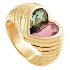 Bulgari Doppio Tondo Yellow Gold Pink and Green Tourmaline Heart Ring