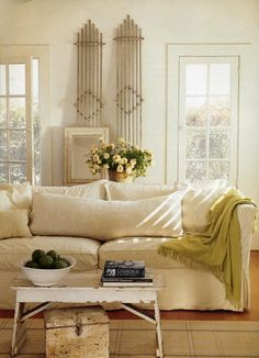 the Polished Pebble: Nancy Fischelson Architectural Designer: Part 1 - I love the antique trellises! Cottage Living Rooms, Living Spaces, Cozy Living, Modern Country Style, French Country, White Rooms, Inspired Homes, Great Rooms, Room Inspiration