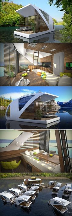 This new Floating Hotel with Catamaran Apartments aims at promoting low-impact tourism on inland waters. Consisting of small, floating catamarans, the floating hotel is a perfect solution for tourism without harming the natural environment or people. Future House, Floating Hotel, Casas Containers, Best Tiny House, Tiny House Design, Catamaran, Home Fashion, Fashion Fashion, Fashion Images