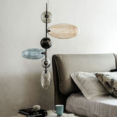 topaz | lamps - Ceiling lamp with black chrome steel frame (06). Lampshade in borosilicate transparent, smoked, light blue and amber glass. Bulb included.