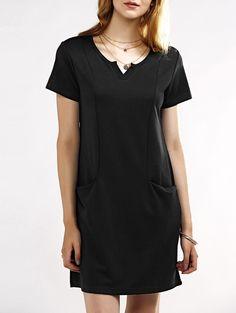 Notched Neck Short Sleeve Black T-Shirt Dress #jewelry, #women, #men, #hats, #watches