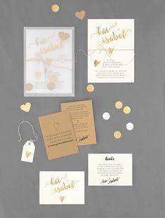 Papeterieserie Weiß, Braun und Gold