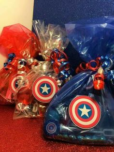 Wow your guests with these handmade party bags! Each toy included is tailored to the Captain America theme! - Visit to grab an amazing super hero shirt now on sale! Avengers Birthday, Superhero Birthday Party, 4th Birthday Parties, Birthday Party Favors, 5th Birthday, Captain America Party, Captain America Birthday, Anniversaire Captain America, Party Bags