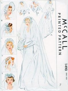1940s GORGEOUS Bridal Caps Hats and Veils Pattern McCALL 1490 Five Romantic Designs Vintage Sewing Pattern